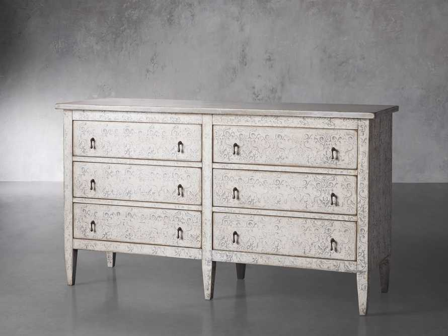 "Amalfi 63"" Six Chest Drawer in Bianco with Grigio, slide 2 of 5"