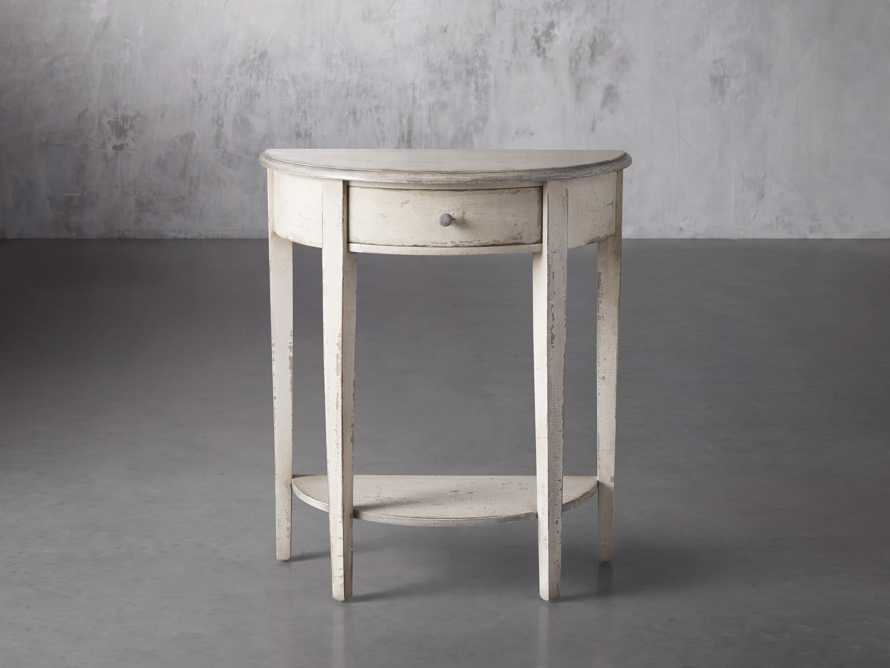 "Amalfi 24.5"" Demilune Side Table in Bianco, slide 1 of 4"