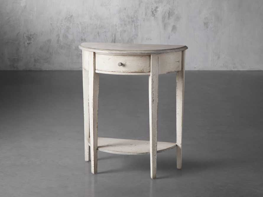 "Amalfi 24.5"" Demilune Side Table in Bianco, slide 2 of 4"