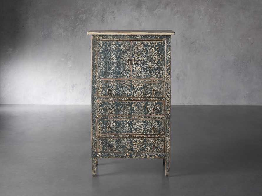 "Amalfi 31.5"" Small 2 Door Cabinet with 4 Drawers in Blue Grigio with White, slide 1 of 5"