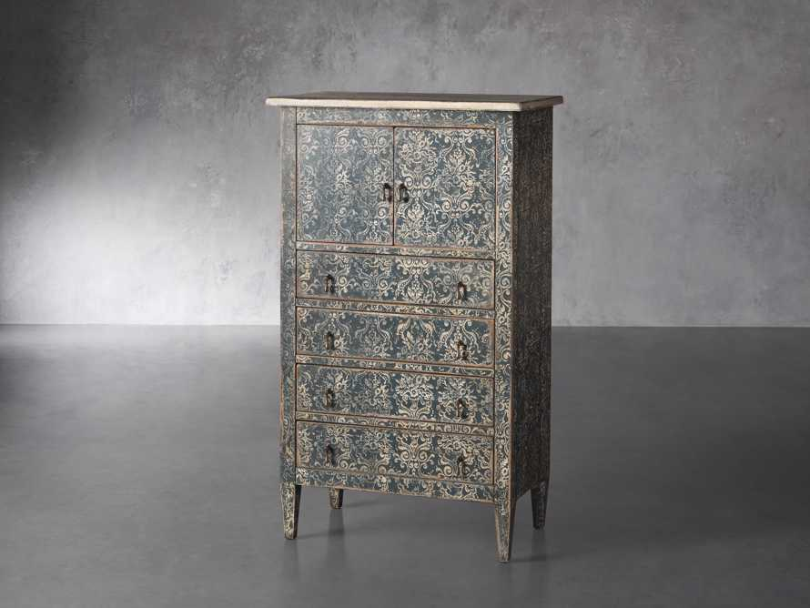 "Amalfi 31.5"" Small 2 Door Cabinet with 4 Drawers in Blue Grigio with White, slide 2 of 5"