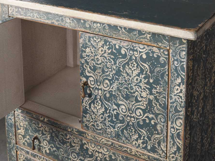 "Amalfi 31.5"" Small 2 Door Cabinet with 4 Drawers in Blue Grigio with White, slide 3 of 5"
