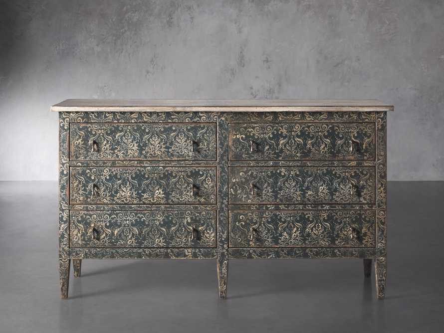 """Amalfi 63"""" Six Chest Drawer in Blue Grigio with White, slide 1 of 6"""