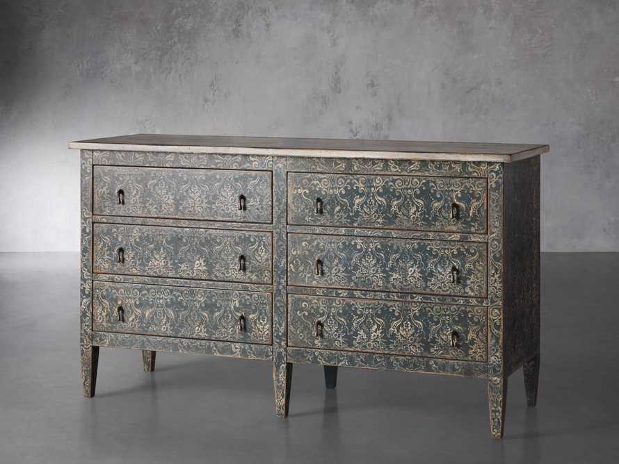 "Amalfi 63"" Six Chest Drawer in Blue Grigio with White, slide 2 of 6"