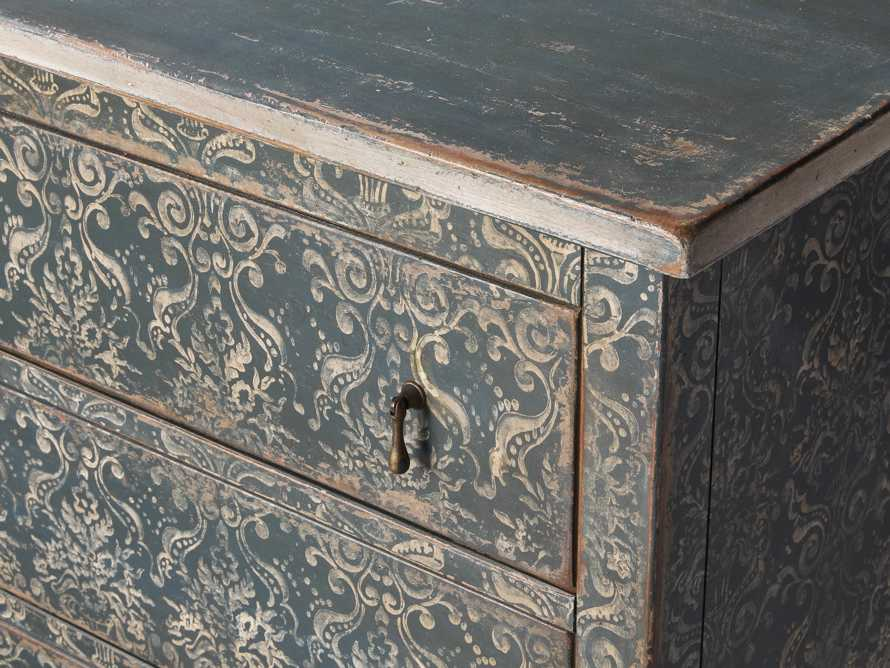"Amalfi 63"" Six Chest Drawer in Blue Grigio with White, slide 3 of 6"