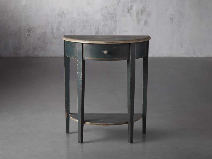 "Amalfi 24.5"" Demilune Side Table in Blue Grigio, slide 1 of 3"