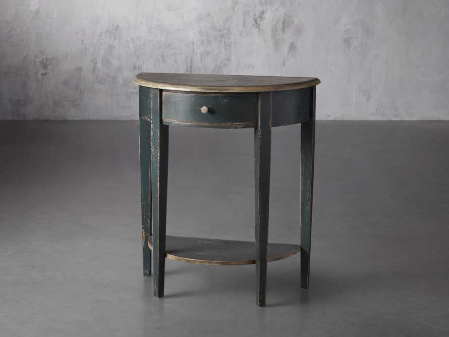 "Amalfi 24.5"" Demilune Side Table in Blue Grigio, slide 2 of 3"