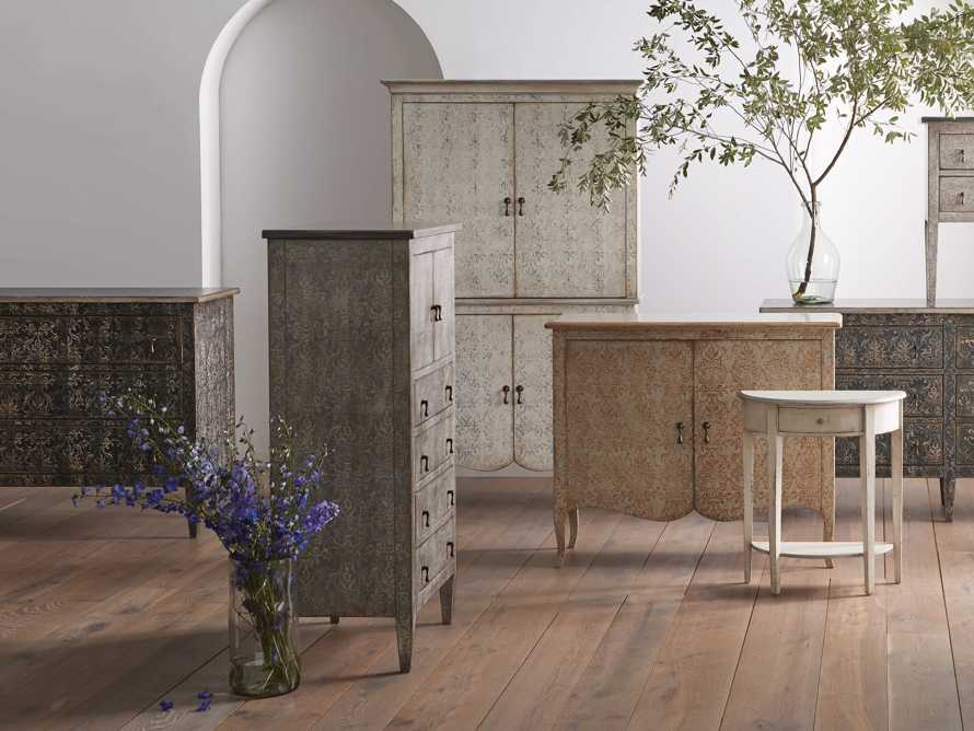 """Amalfi 50"""" Small 2 Door Cabinet with 4 Drawers in Dolphine Grey with Bianco, slide 4 of 6"""