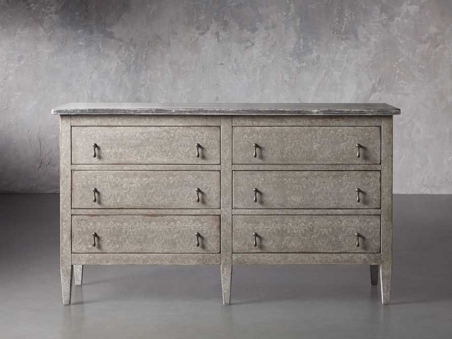"Amalfi 63"" Six Chest Drawer in Dolphine Grey with Bianco, slide 1 of 4"