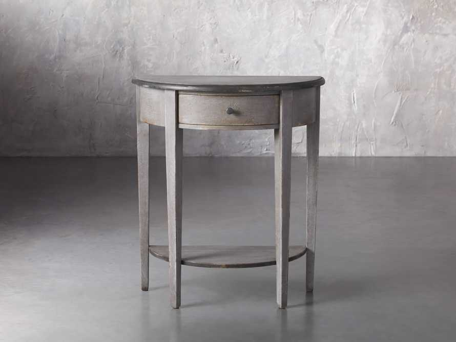 """Amalfi 24.5"""" Demilune Side Table in Dolphine Grey, slide 1 of 5"""