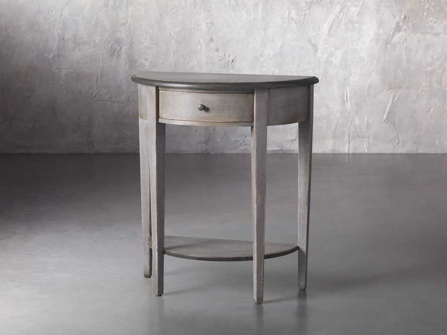"""Amalfi 24.5"""" Demilune Side Table in Dolphine Grey, slide 2 of 5"""