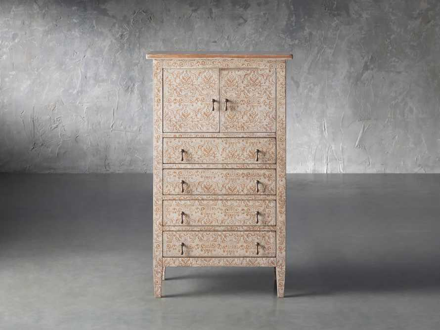 """Amalfi 31.5"""" Small 2 Door Cabinet with 4 Drawers in Ivory with Terracotta, slide 1 of 5"""