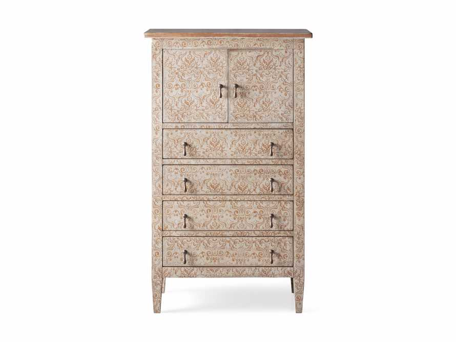 """Amalfi 31.5"""" Small 2 Door Cabinet with 4 Drawers in Ivory with Terracotta, slide 5 of 5"""