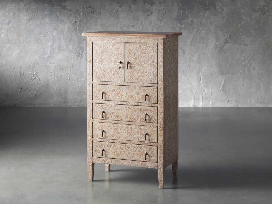 """Amalfi 31.5"""" Small 2 Door Cabinet with 4 Drawers in Ivory with Terracotta, slide 2 of 5"""