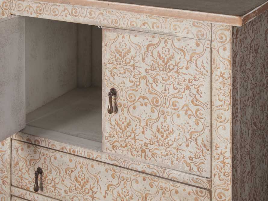 """Amalfi 31.5"""" Small 2 Door Cabinet with 4 Drawers in Ivory with Terracotta, slide 3 of 5"""