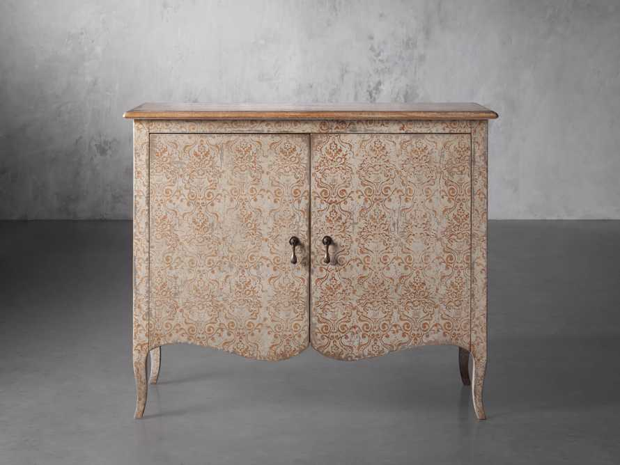 "Amalfi 44.5"" Modello Isabella 2 Door Chest in Ivory with Terracotta, slide 1 of 5"
