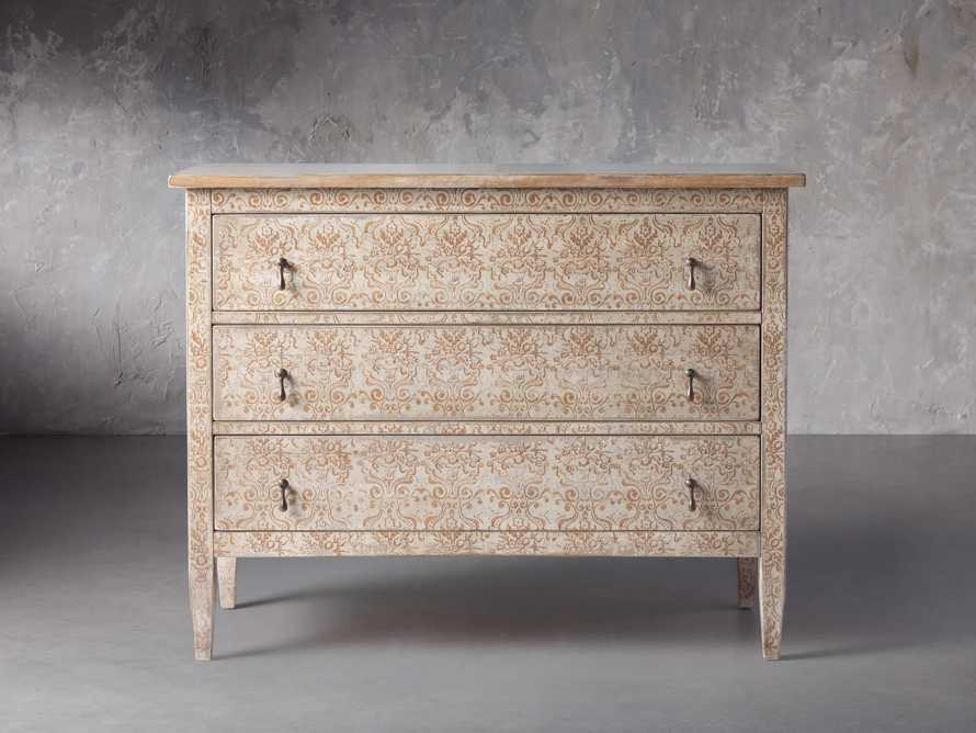 "Amalfi 50"" Three Chest Drawer in Ivory with Terracotta, slide 1 of 5"