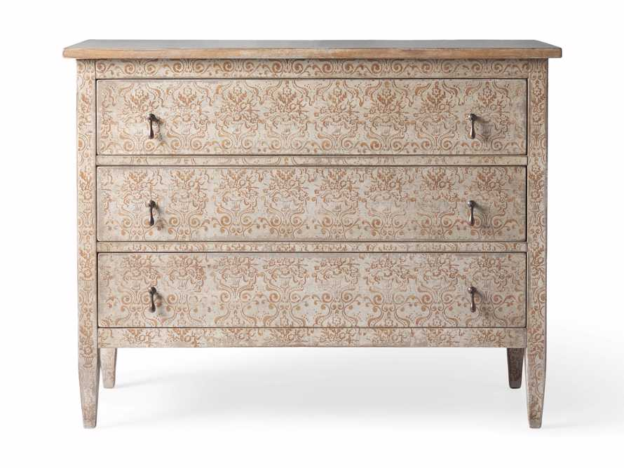 "Amalfi 50"" Three Chest Drawer in Ivory with Terracotta, slide 5 of 5"