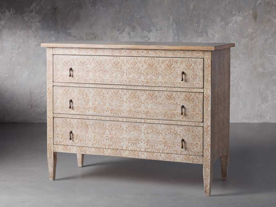 "Amalfi 50"" Three Chest Drawer in Ivory with Terracotta, slide 2 of 5"