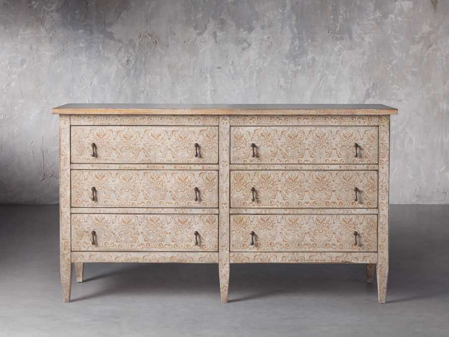 """Amalfi 63"""" Six Chest Drawer in Ivory with Terracotta, slide 1 of 5"""