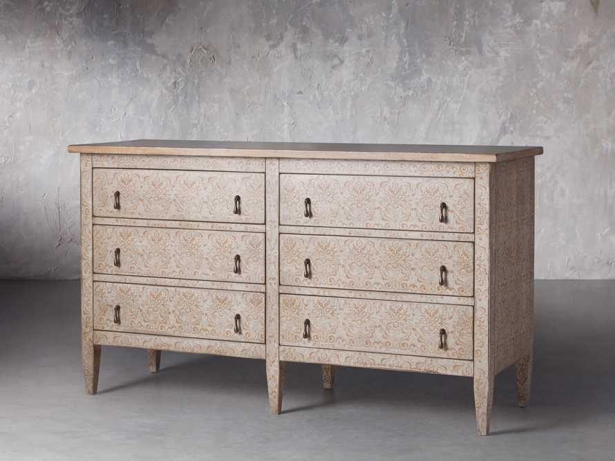 """Amalfi 63"""" Six Chest Drawer in Ivory with Terracotta, slide 2 of 5"""