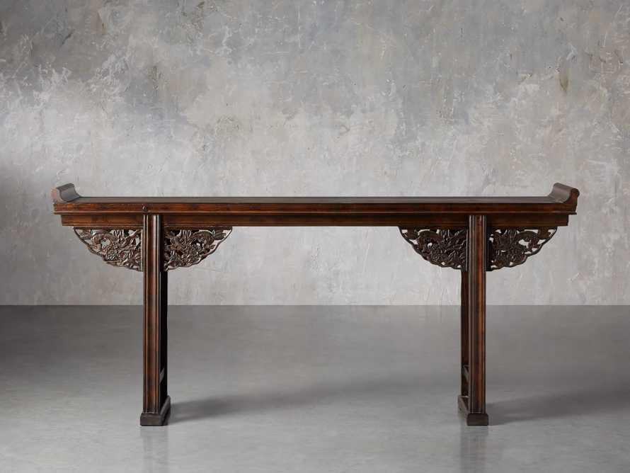 """Ming 86"""" Altar Table in Blackened Honey, slide 1 of 9"""