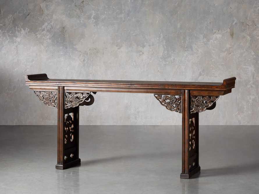 """Ming 86"""" Altar Table in Blackened Honey, slide 2 of 9"""