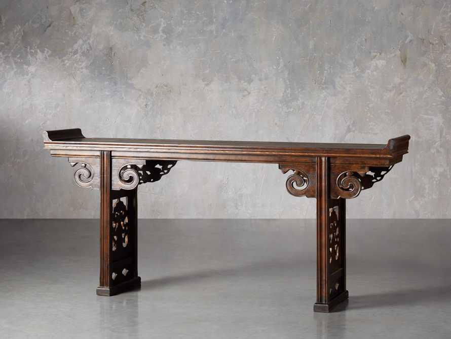 """Ming 86"""" Altar Table in Blackened Honey, slide 4 of 9"""