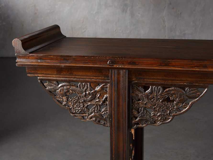 """Ming 86"""" Altar Table in Blackened Honey, slide 5 of 9"""