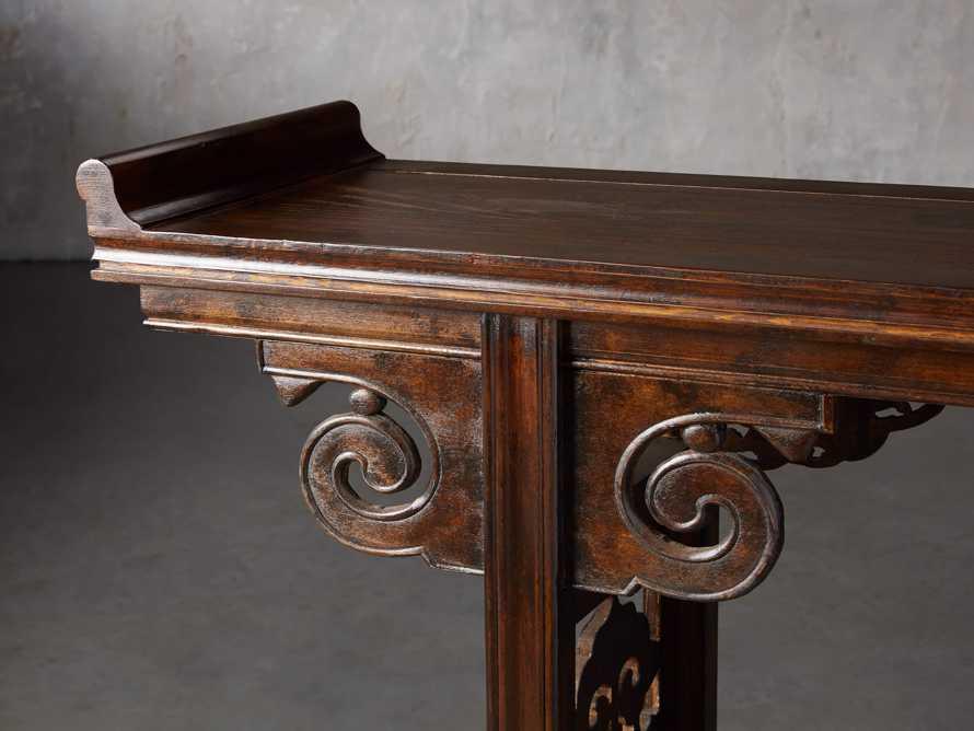 """Ming 86"""" Altar Table in Blackened Honey, slide 6 of 9"""