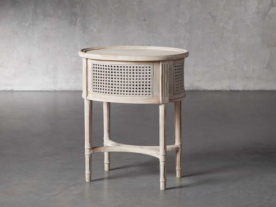 Merle Caned End Table in Natural
