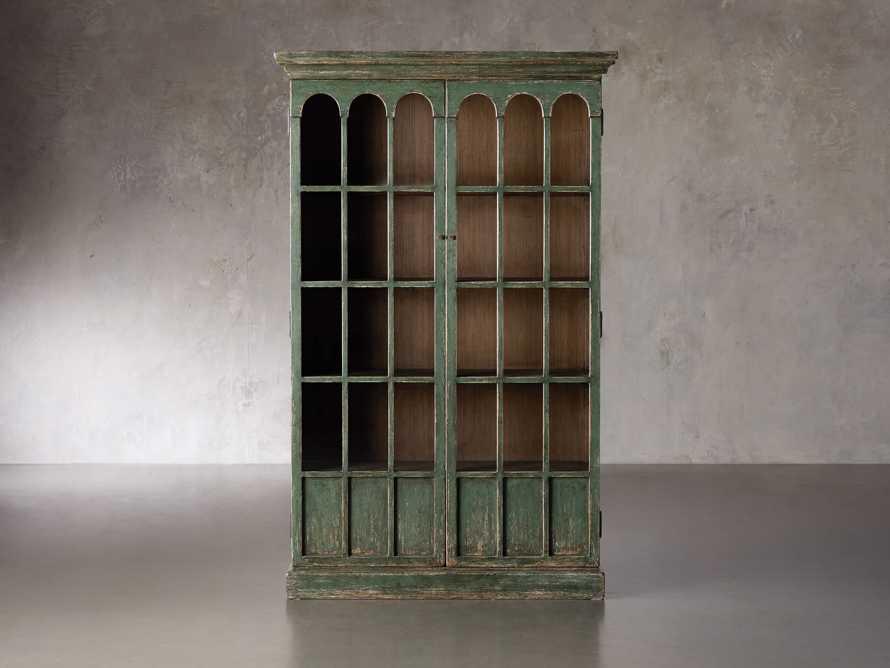 """Merritt 80"""" Glass Cabinet in Sage Green, slide 1 of 5"""
