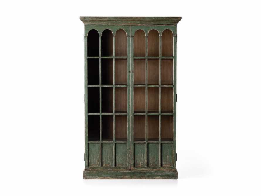 """Merritt 80"""" Glass Cabinet in Sage Green, slide 5 of 5"""