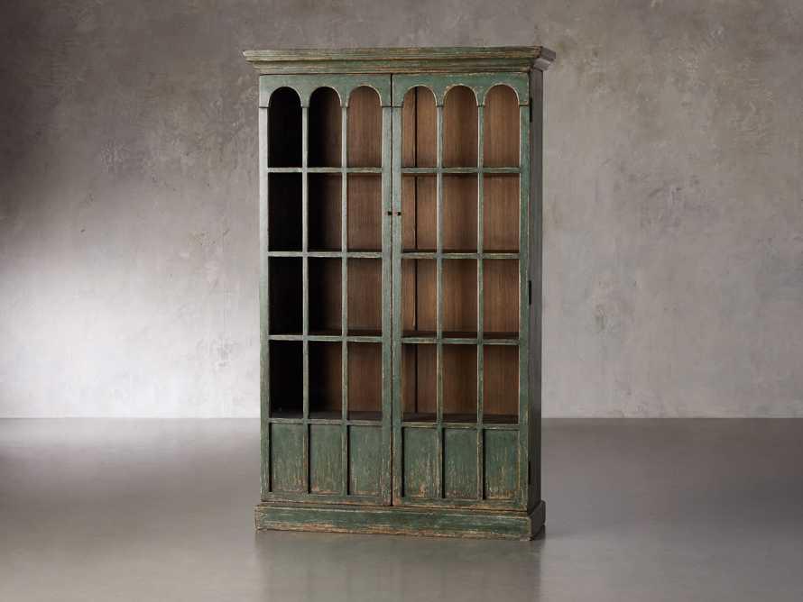 """Merritt 80"""" Glass Cabinet in Sage Green, slide 2 of 5"""