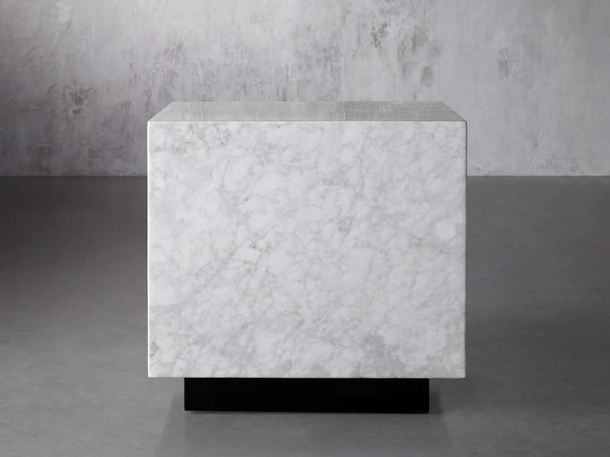 "Aviana 24"" End Table in White Marble, slide 1 of 7"