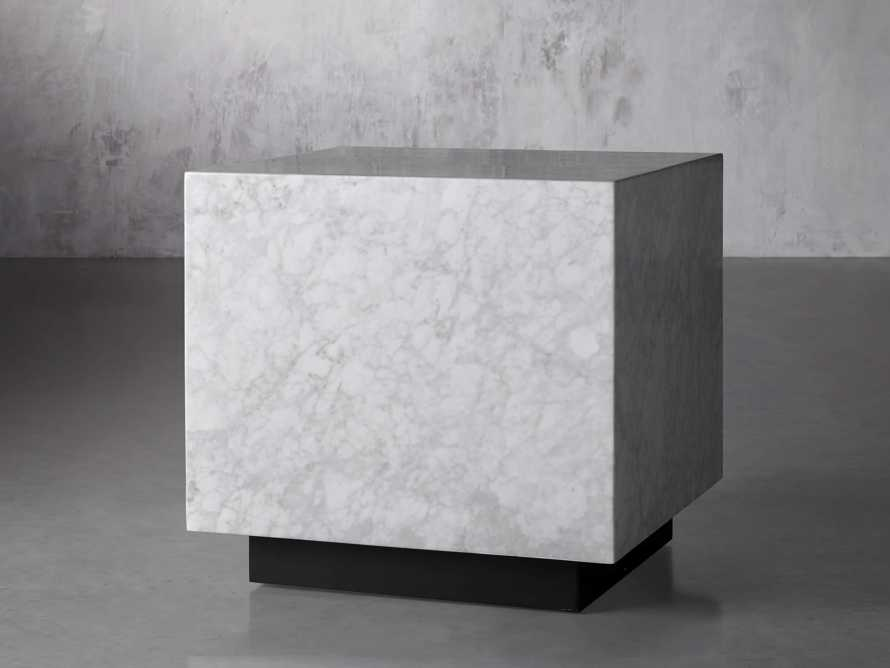 "Aviana 24"" End Table in White Marble, slide 2 of 7"