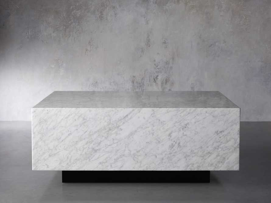 "Aviana 38"" Coffee Table in White Marble, slide 1 of 5"