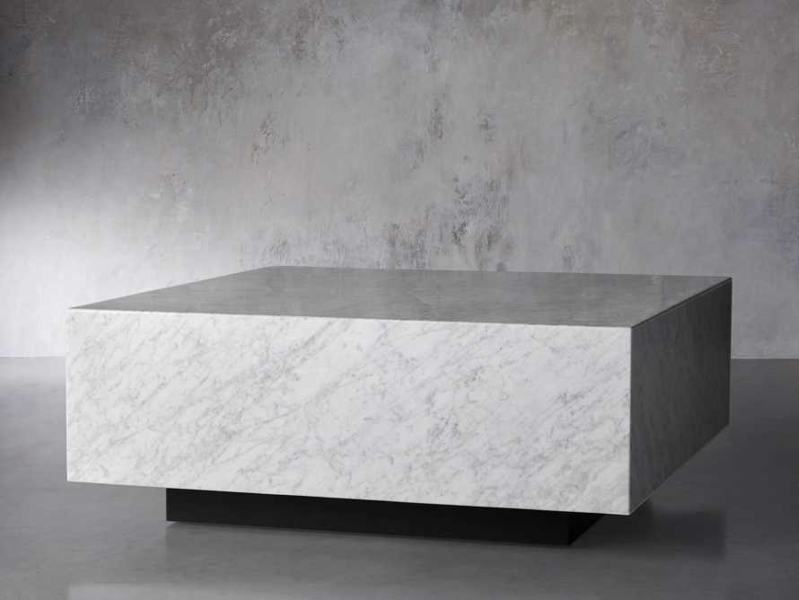 "Aviana 38"" Coffee Table in White Marble, slide 2 of 5"