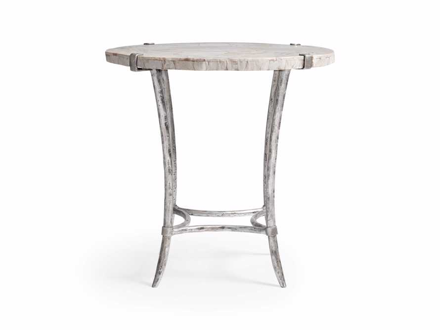 "Boracay 24"" End Table With Marble Top in Platinum"