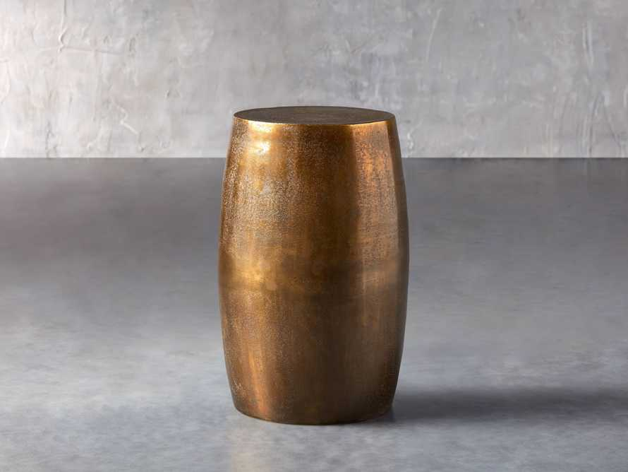 Hammered Brass Drum End Table, slide 1 of 10