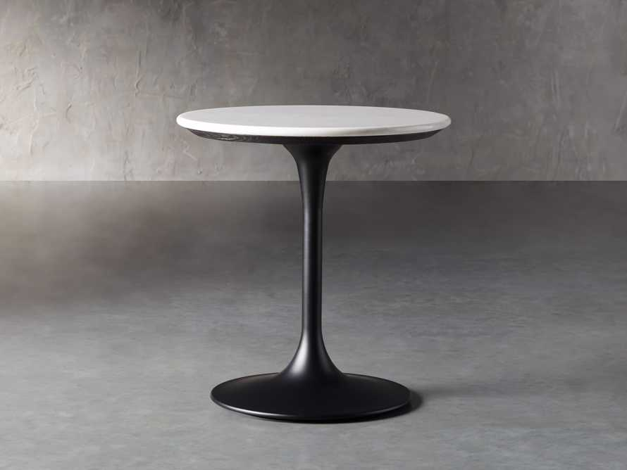 "Enzo 22"" Round White Marble End Table, slide 1 of 8"