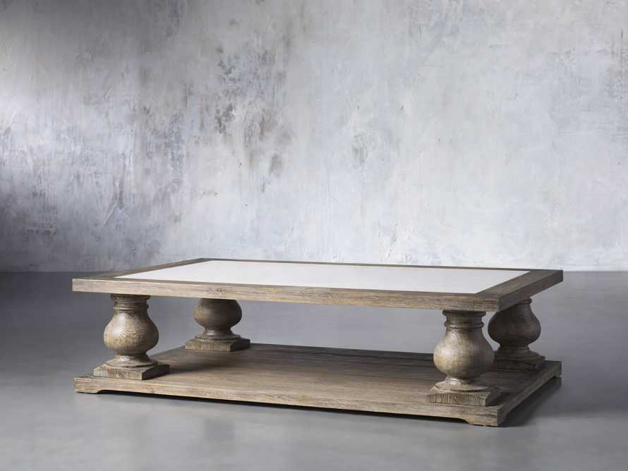 "Hudson 60"" Coffee Table With White Marble Top, slide 2 of 5"