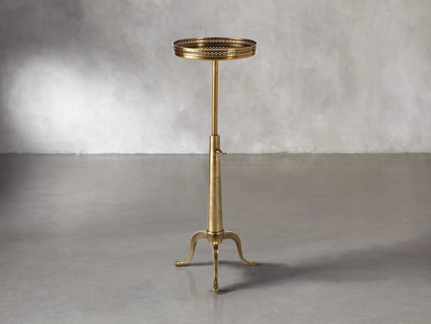 "Naomi 12"" Round Adjustable End Table In Brass"