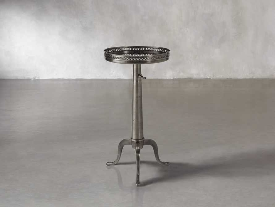 "Naomi 12"" Round Adjustable End Table In Pewter"