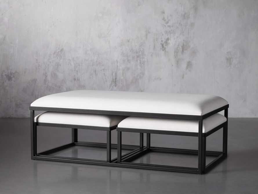 "Palmer Upholstered 53"" Rectangle Nesting Coffee Table in Black Base, slide 2 of 5"