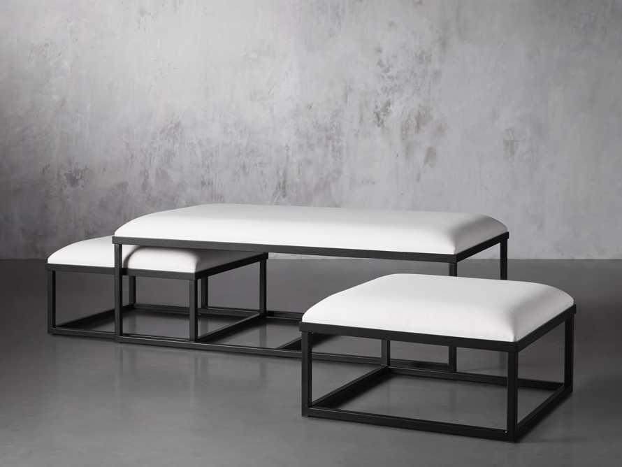 "Palmer Upholstered 53"" Rectangle Nesting Coffee Table in Black Base, slide 3 of 5"