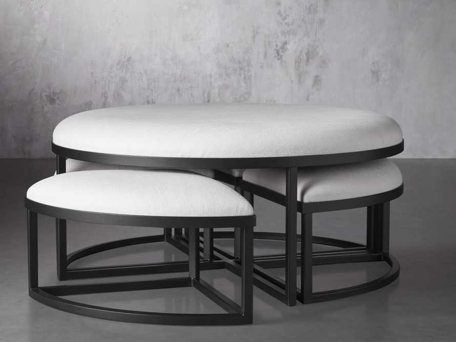"""Palmer Upholstered 42"""" Round Nesting Coffee Table in Black Base, slide 3 of 6"""