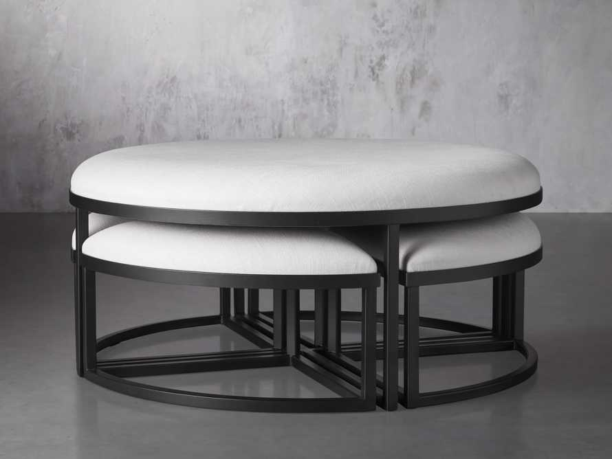 """Palmer Upholstered 42"""" Round Nesting Coffee Table in Black Base, slide 2 of 6"""