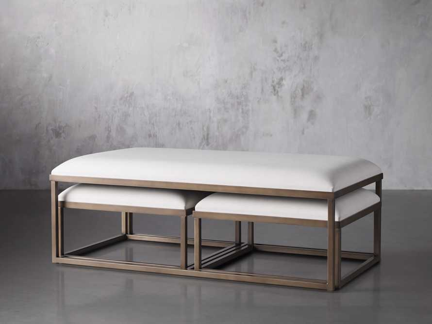 """Palmer Upholstered 53"""" Rectangle Nesting Coffee Table in Antique Brass, slide 2 of 5"""