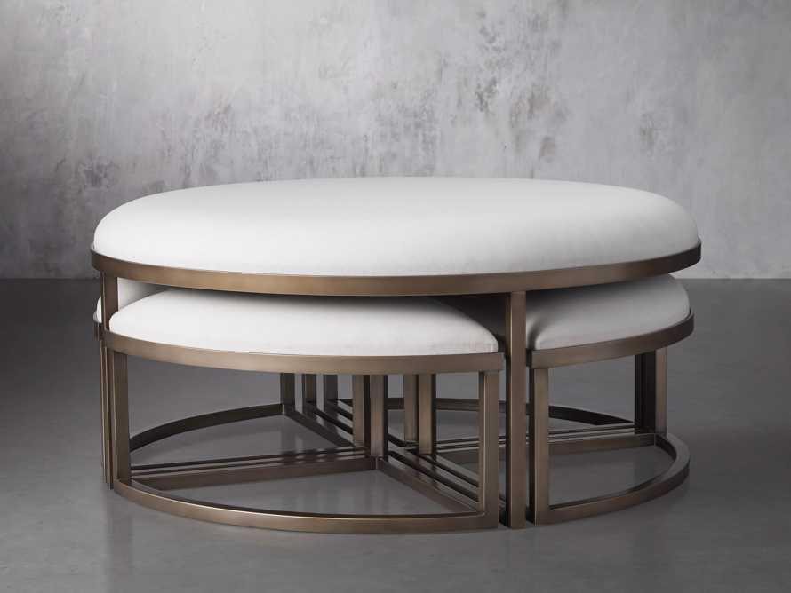 """Palmer Upholstered 42"""" Round Nesting Coffee Table in Antique Brass, slide 2 of 6"""